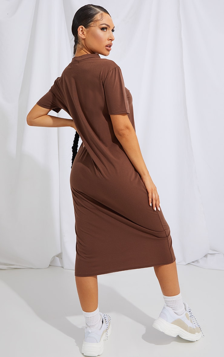 RECYCLED Chocolate Midi T Shirt Dress 1