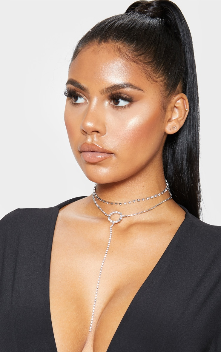 Silver Diamante Ring And Chain Choker 1