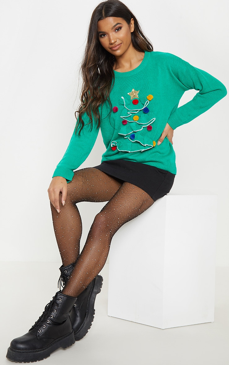 Green Christmas Tree Knitted Sweater 1