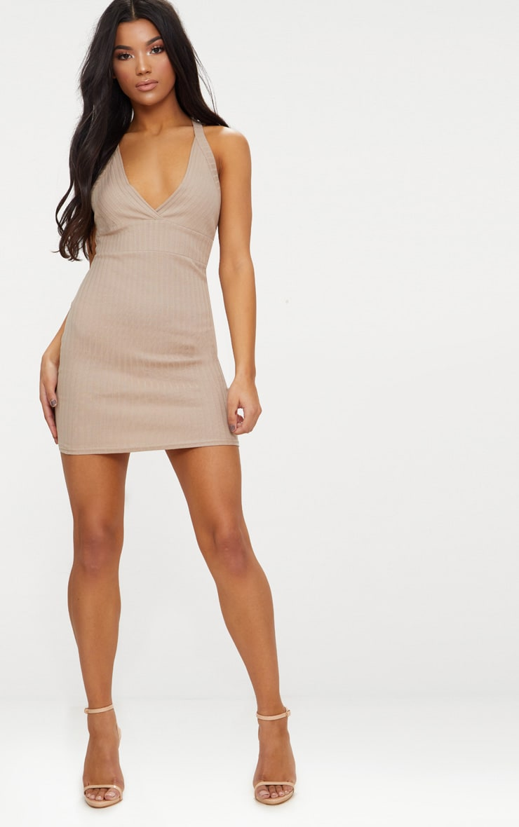 Stone Strappy Plunge Ribbed Bodycon Dress 4