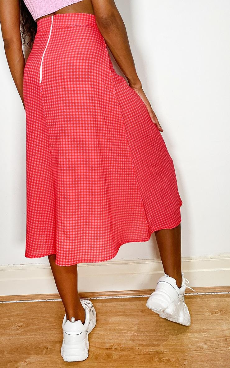 Pink Gingham Floaty Midi Skirt 3