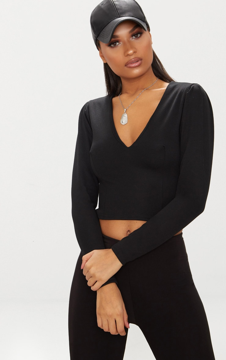 Black Deep V Seamed Long Sleeve Top  1