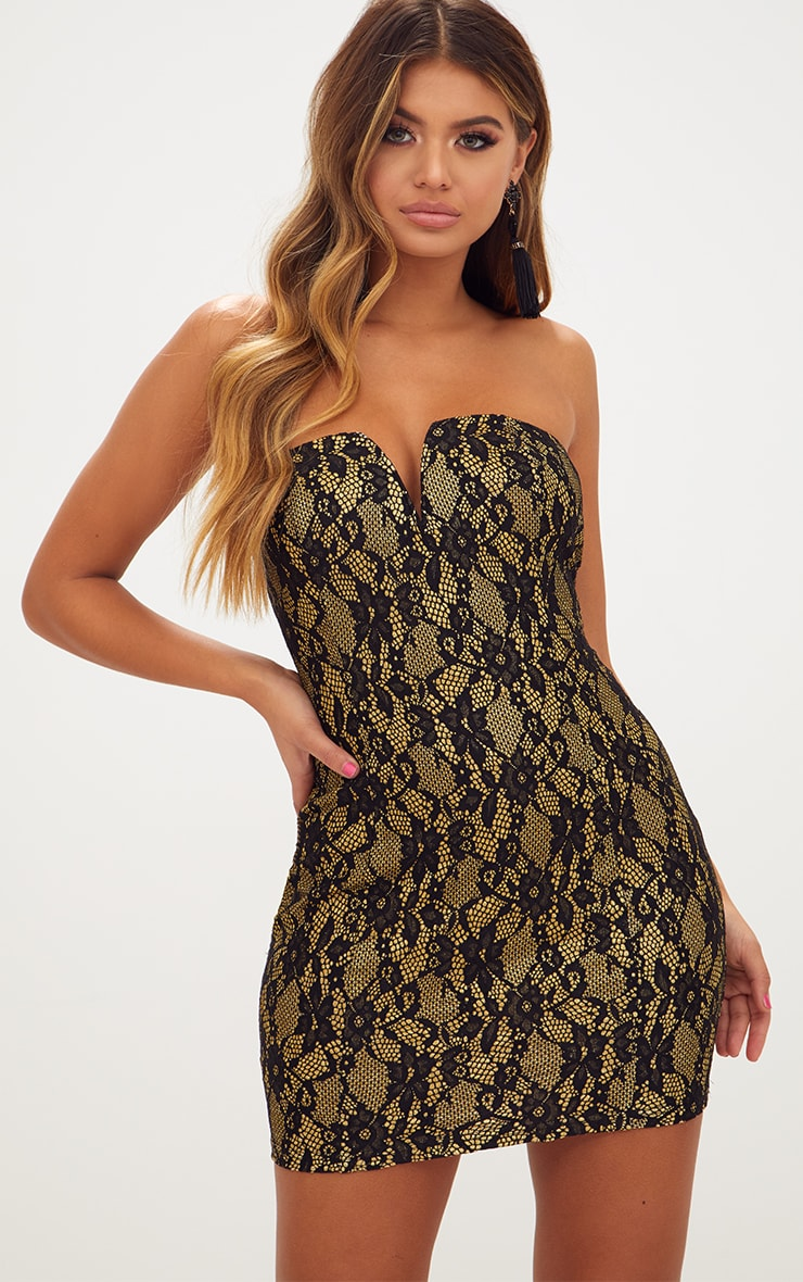 Black Glitter Lace V Plunge Bandeau Bodycon Dress