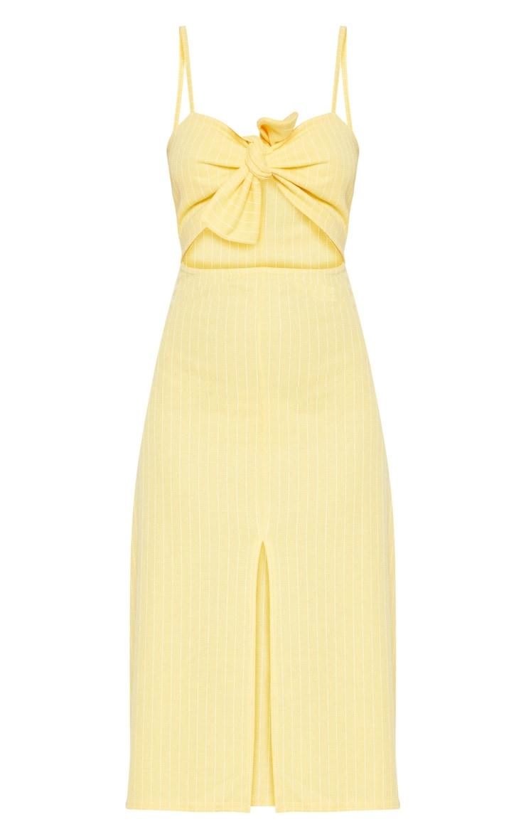Lemon Pinstripe Tie Front Extreme Split Midi Dress 3