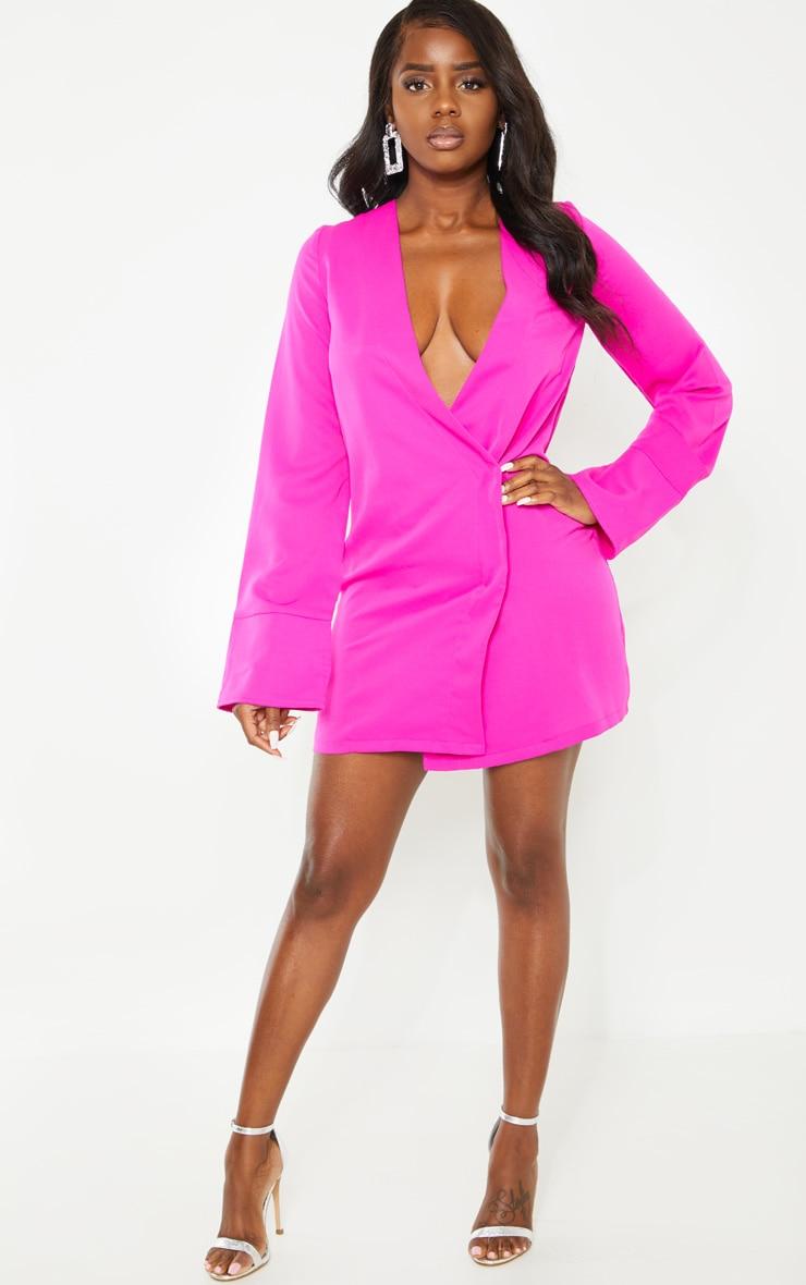 Petite Fuchsia Plunge Flare Sleeve Blazer Dress 4