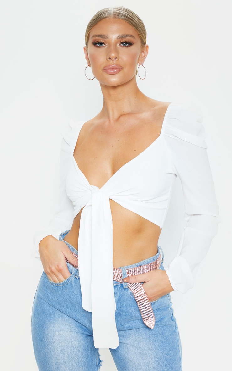 White Pebble Crepe Puff Long Sleeve Tie Crop Blouse