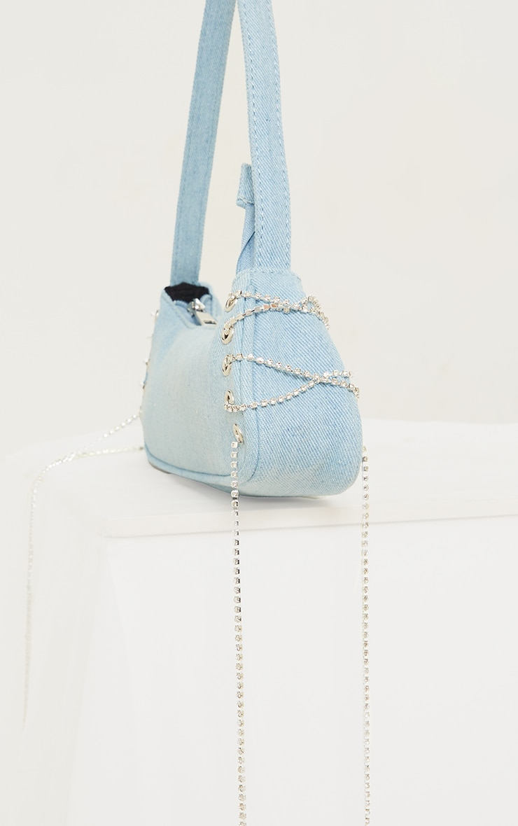 Blue Denim Diamante Lace Up Shoulder Bag 3