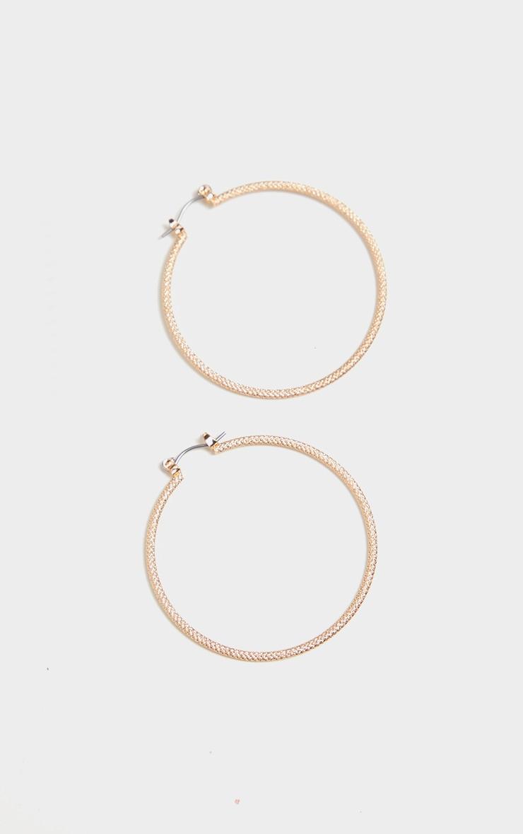 Gold Faceted Skinny Medium Hoop Earrings 2