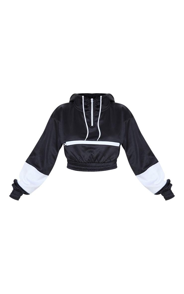 Mono Contrast Stripe Crop Hoodie 3