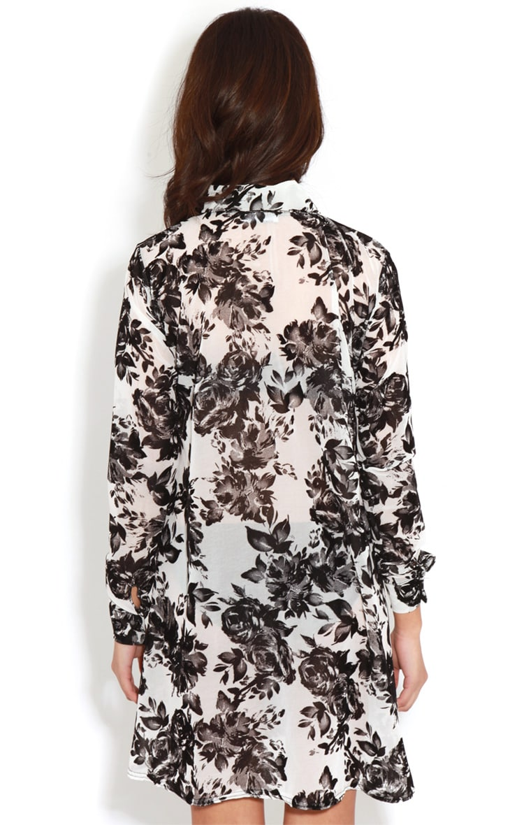 Brianna Monochrome Floral Shirt Dress -16 2