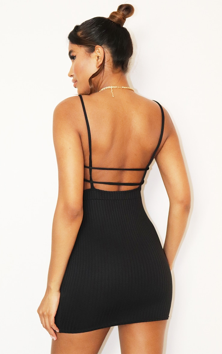 Black Strappy Ruched Brushed Rib Bodycon Dress 2