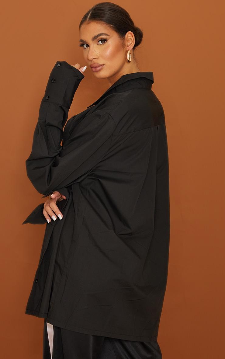 Tall  Black Oversized Cuff Poplin Shirt 2