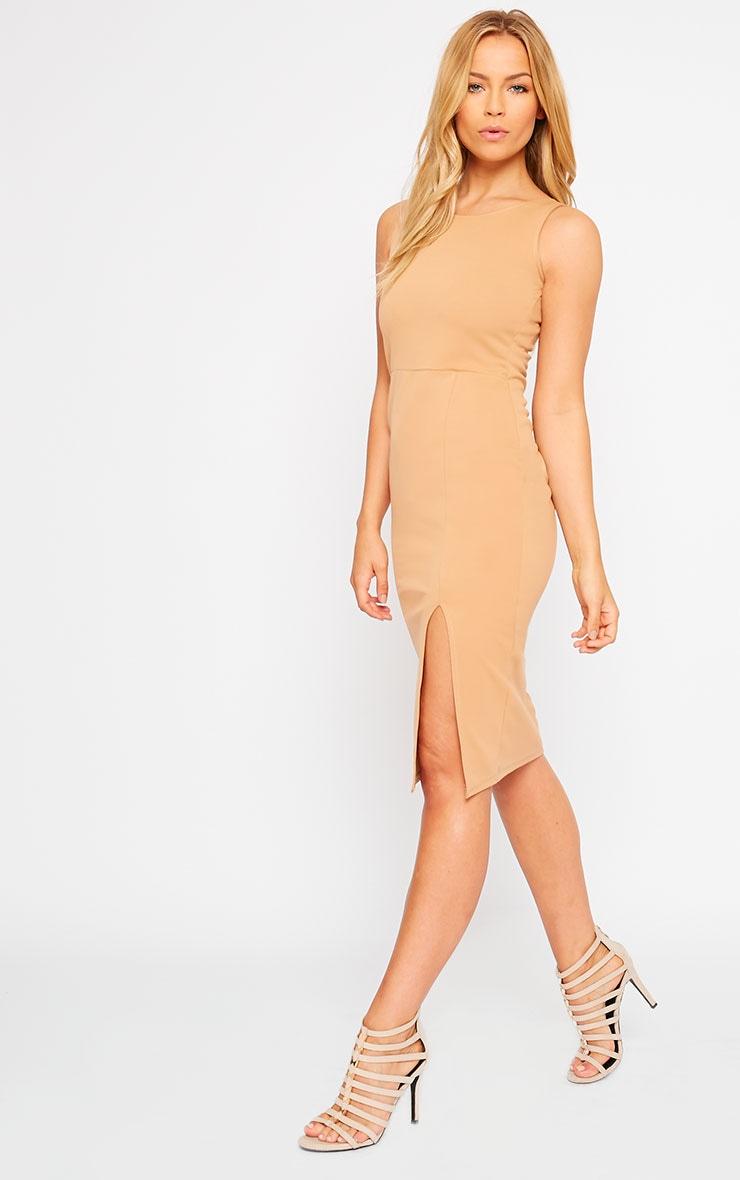 Holly Camel Thigh Split Midi Dress 3