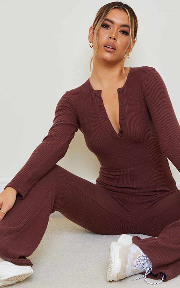Chocolate Brushed Rib Button Front Long Sleeve Jumpsuit 1