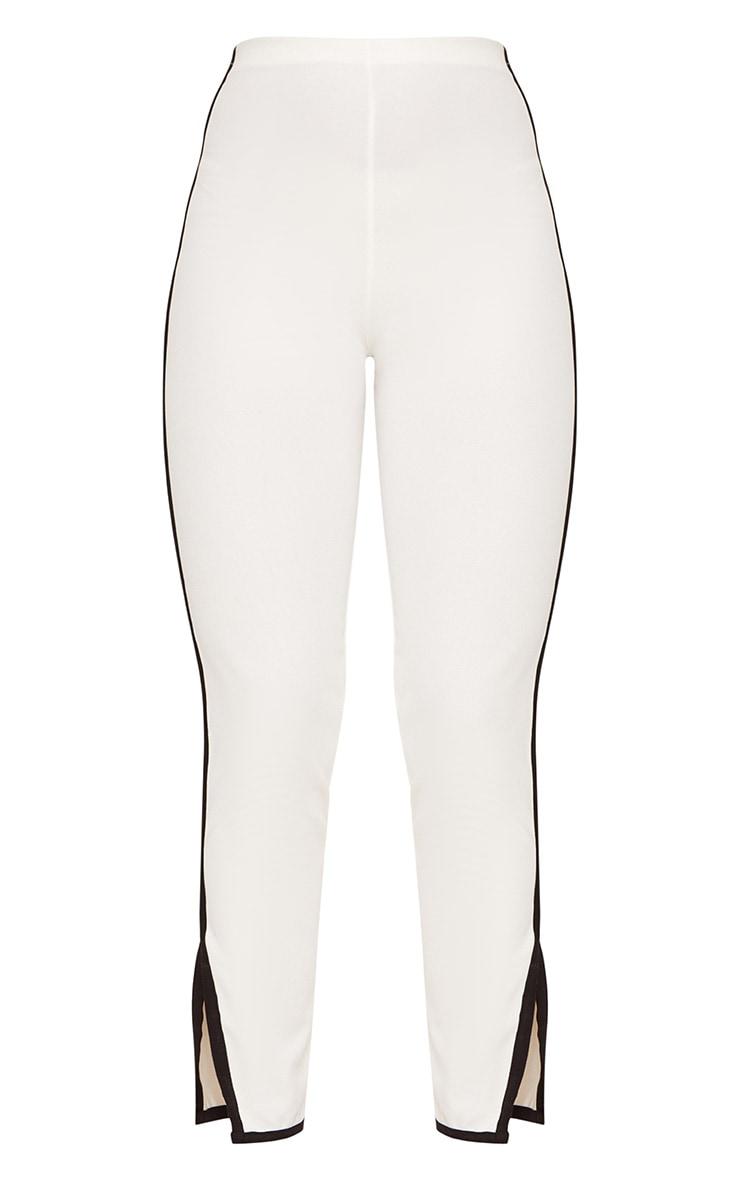 White Contrast Binding  Split Straight Leg Trousers  3