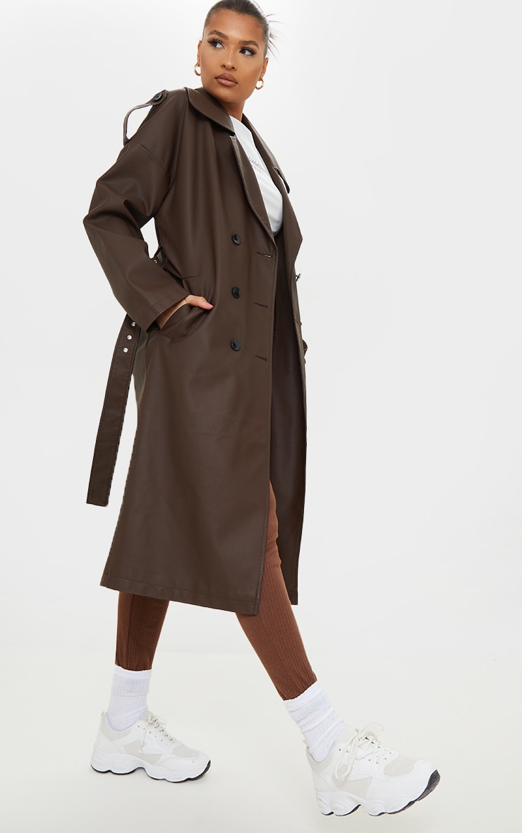 Chocolate Faux Leather Pocket Trench 1