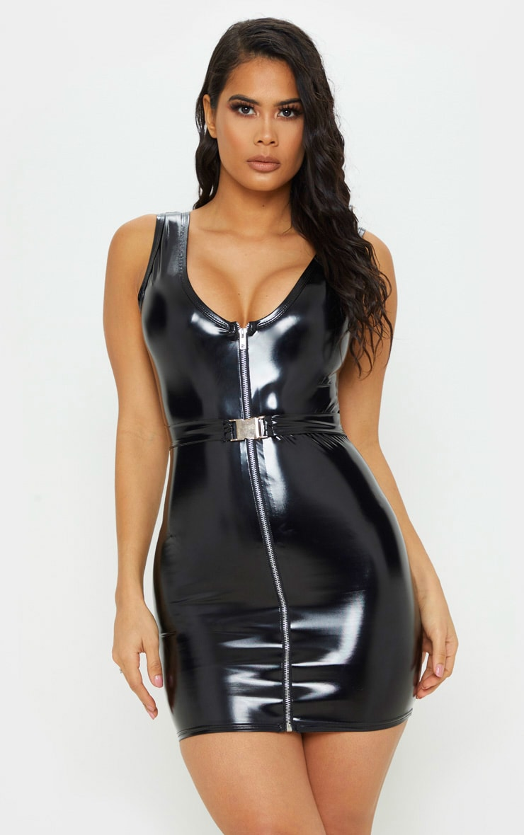 Black Vinyl Belted Zip Bodycon Dress 1