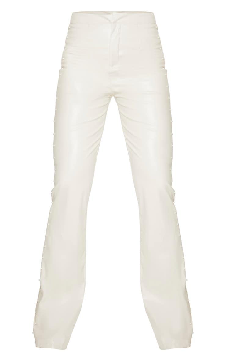 Tall Cream Beaded Side PU Flared Pants 3