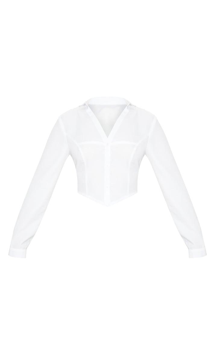 White Plunge Button Up Crop Shirt 3