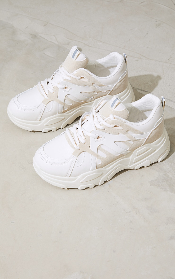 Stone Chunky Panelled Sneakers 1