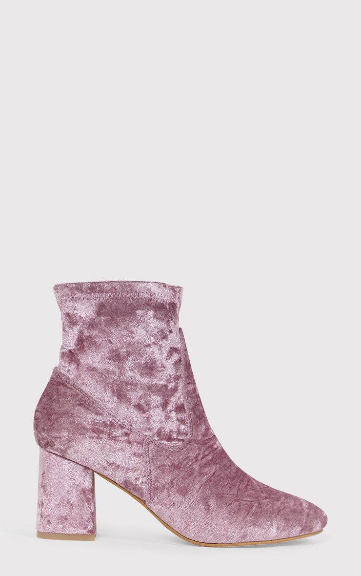 Hayden Blush Crushed Velvet Ankle Boots 1