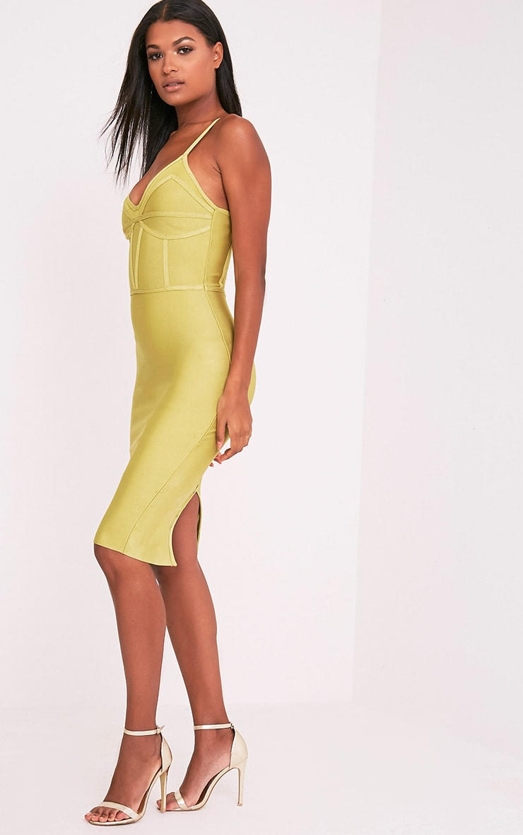 Bethan Dark Lime Bandage Mesh Insert Midi Dress 4