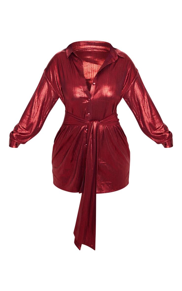 Red Metallic Button Up Tie Waist Shirt Dress 3
