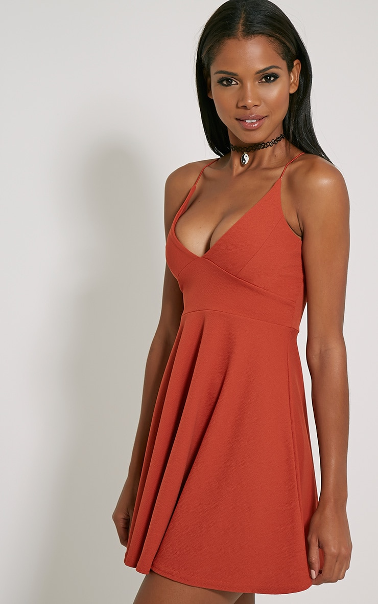 Luccie Rust Crepe Skater Dress 4