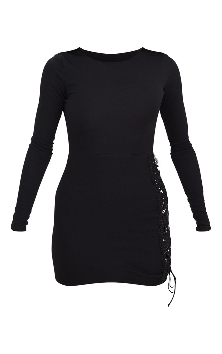 Black Lace Up Side Long Sleeve Bodycon Dress 3