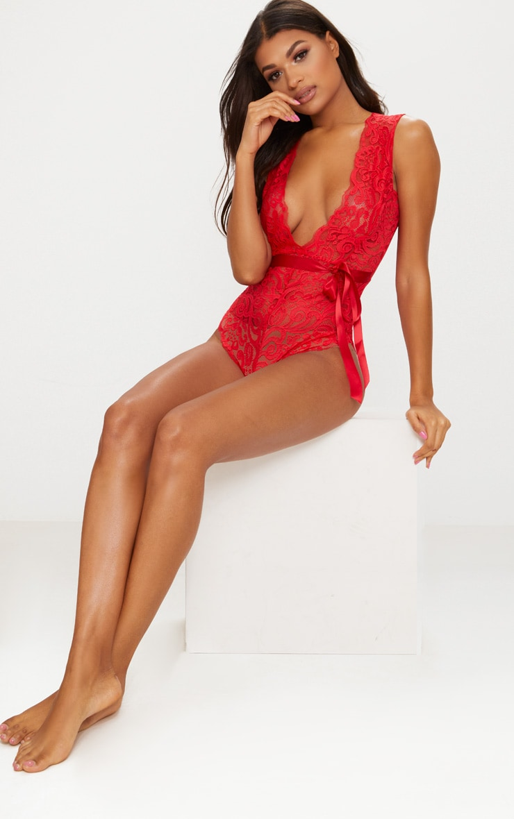 Red Satin Tie Belted Lace Body 5