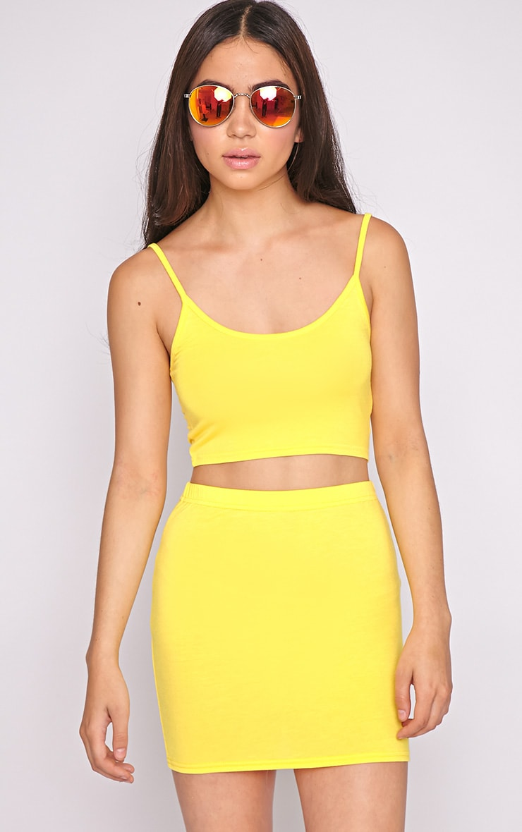 Pria Yellow Spaghetti Strap Crop Top 1