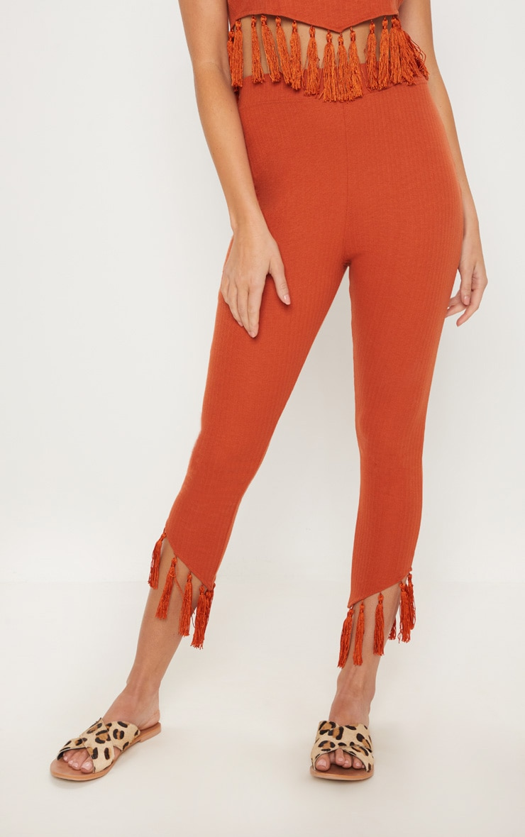 Rust Rib Tassel Trim Legging 2