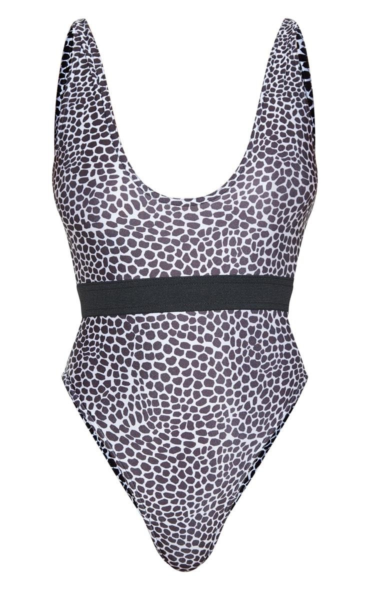 Black & White Lizard Print Elasticated Waist Swimsuit 3