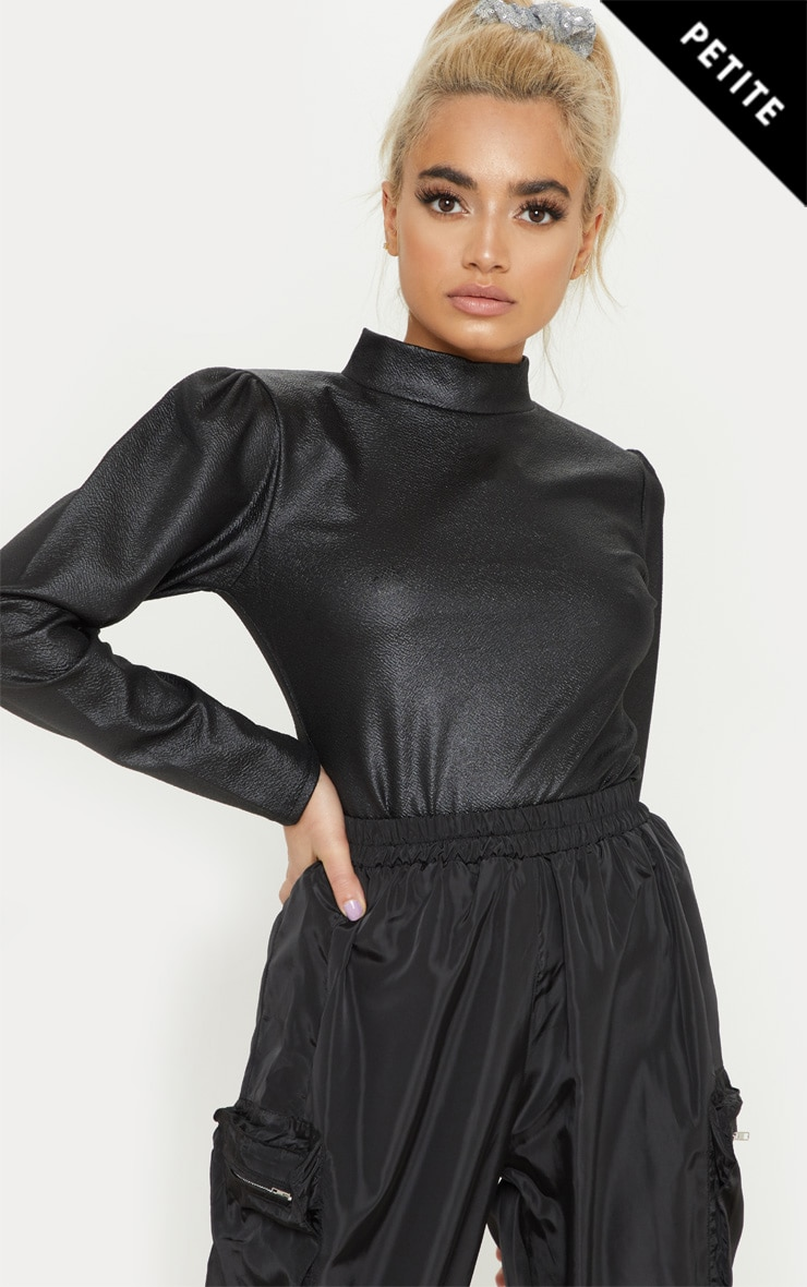 Petite Black High Neck Long Sleeve PU Top