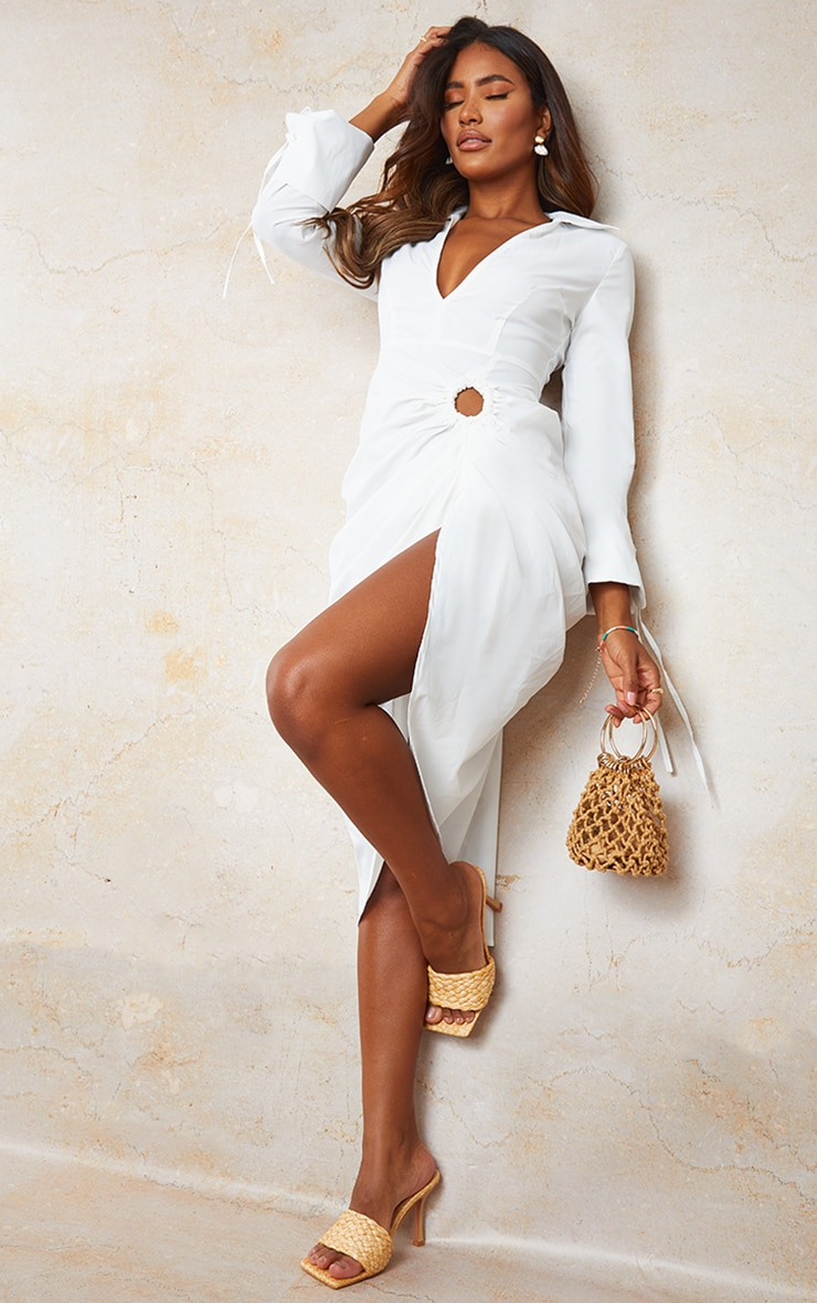 White Oversized Tie Cuff Ring Detail Midi Shirt Dress 1