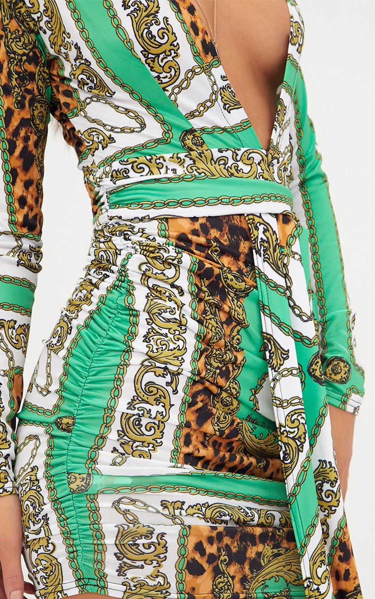 Green Chain Print Long Sleeve Drape Front Plunge Bodycon Dress 5