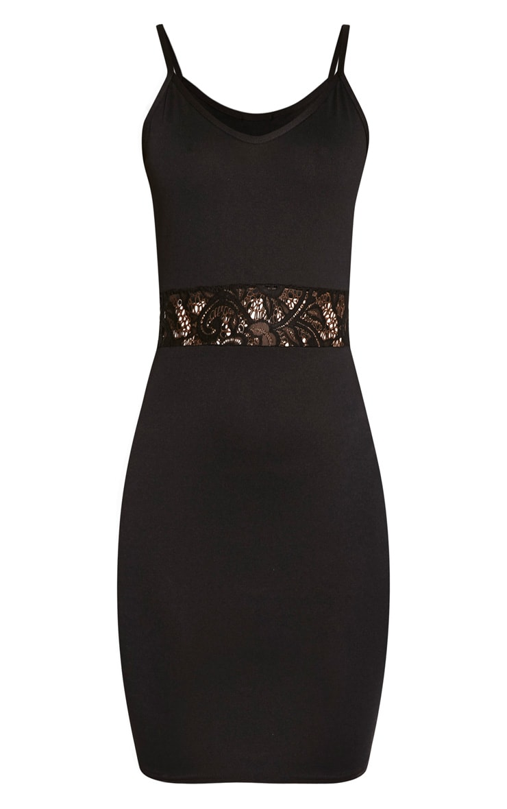 Mae Black Strappy Lace Insert Bodycon Dress 3