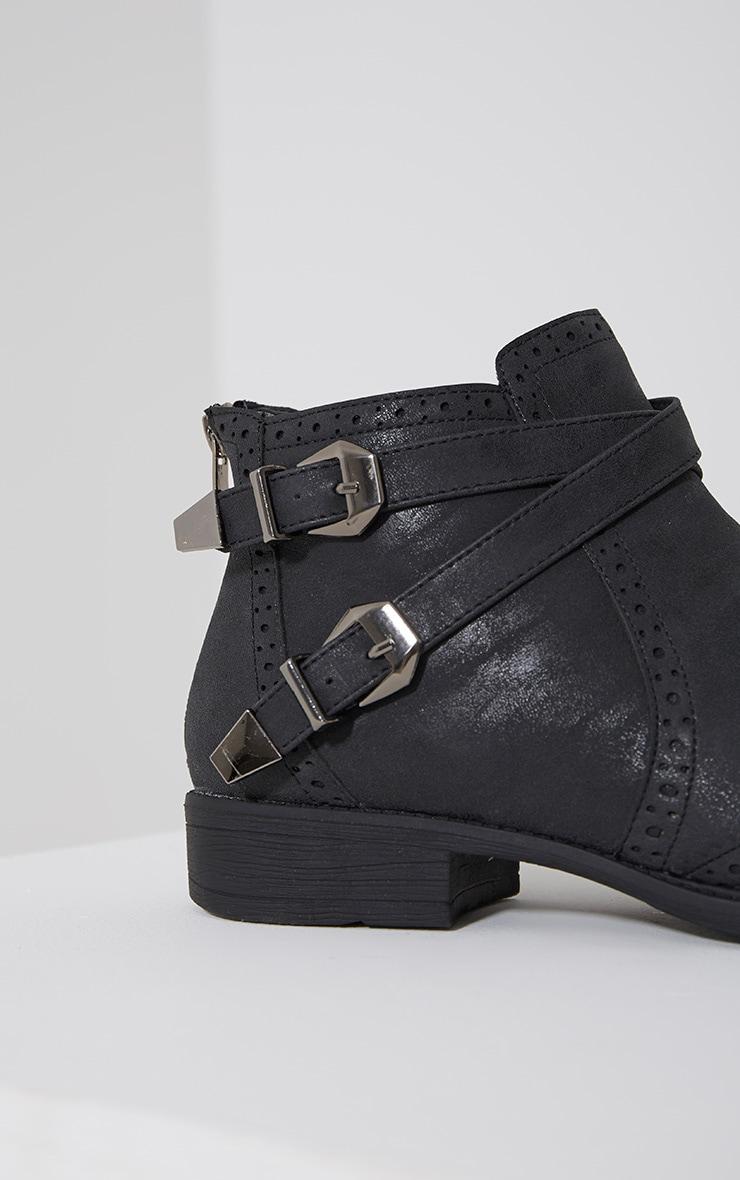 Phia Black Ankle Buckle Detail Chelsea Boots 6