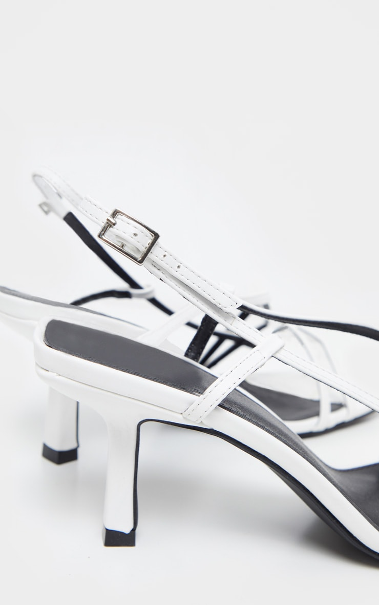 White Low Heel Strappy Sandal 4