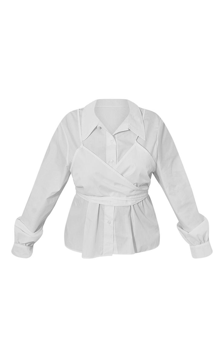 Plus White Layered Wrap Around Shirt 5