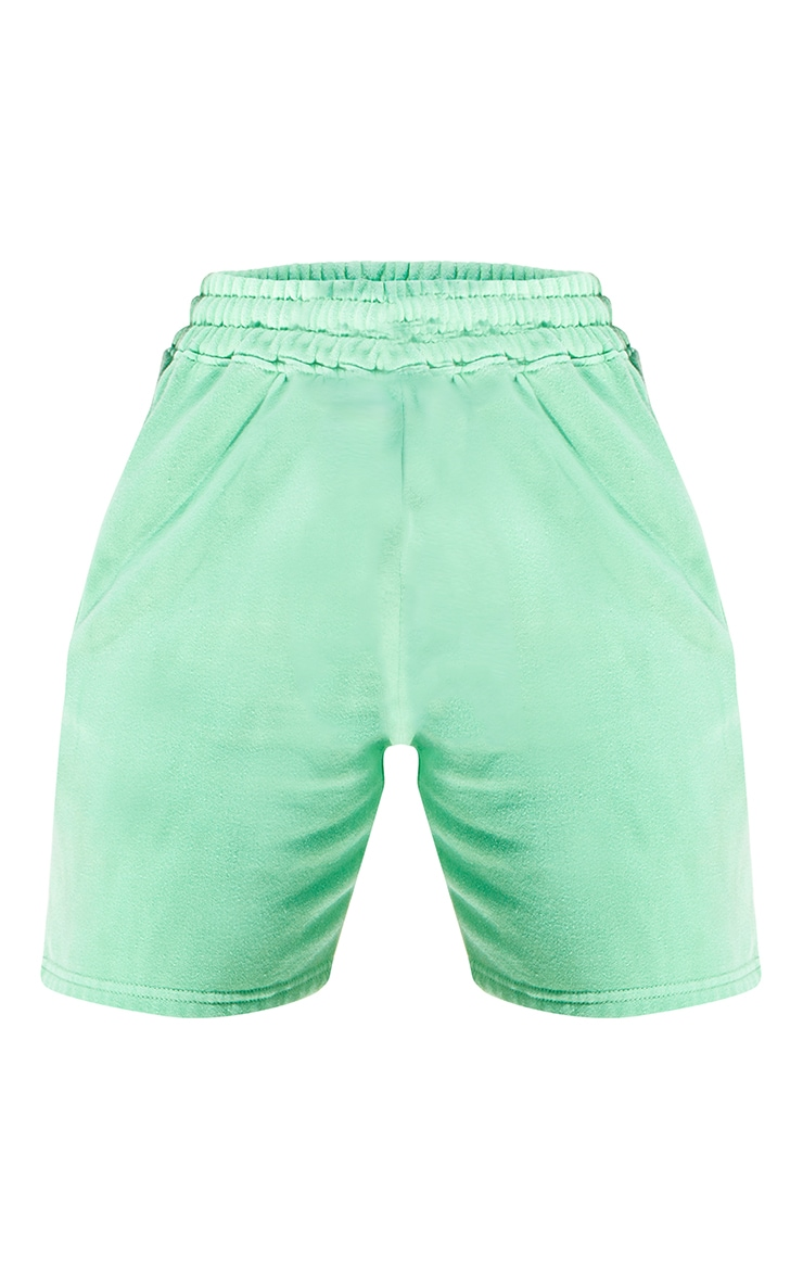 Bright Green Washed Sweat Runner Shorts 6