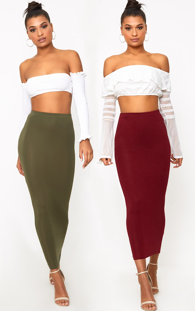 Basic Khaki & Burgundy Jersey Midaxi Skirt 2 Pack 1