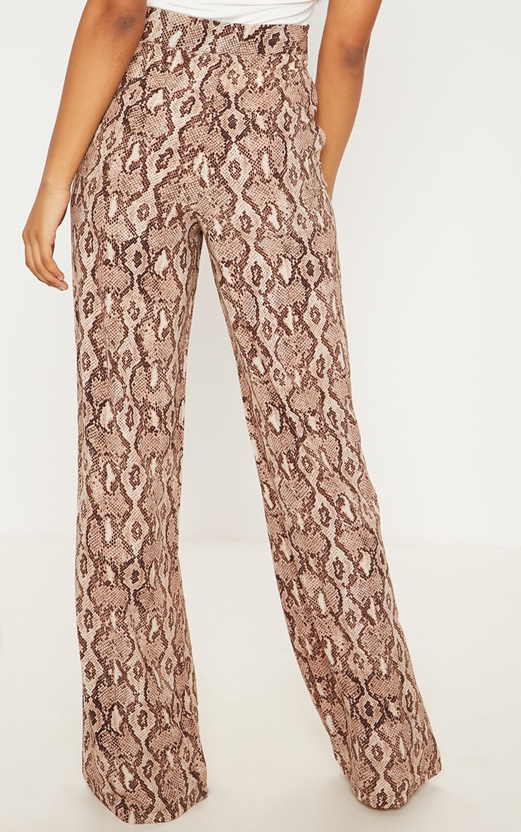 Tall Taupe Snake Print Wide Leg Satin Pants 4