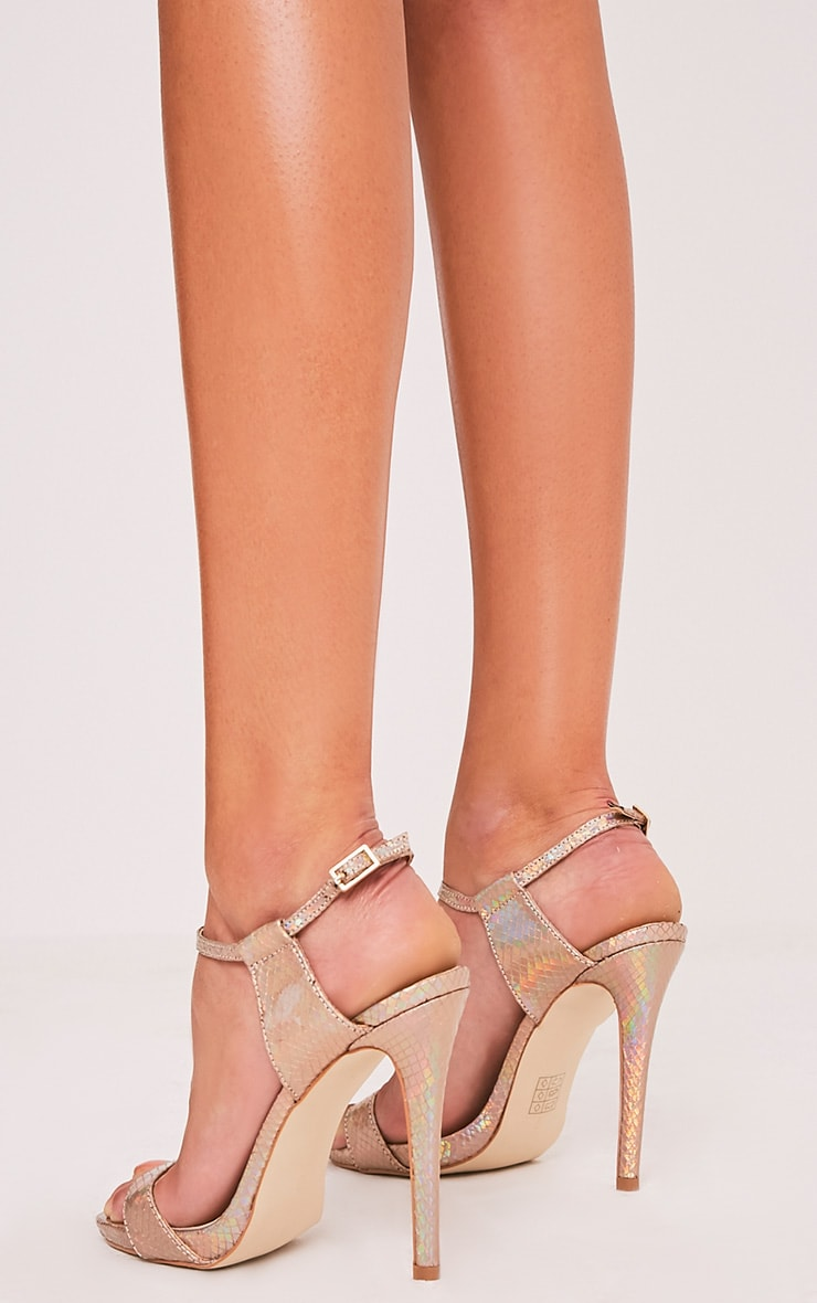 Lolah Gold Iridescent Snake Effect Strappy Sandals 4