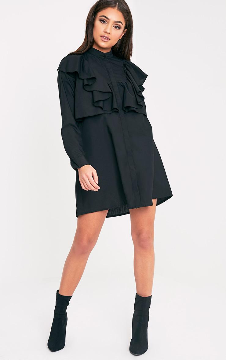 Flora Black Frill Front Shirt Dress 5