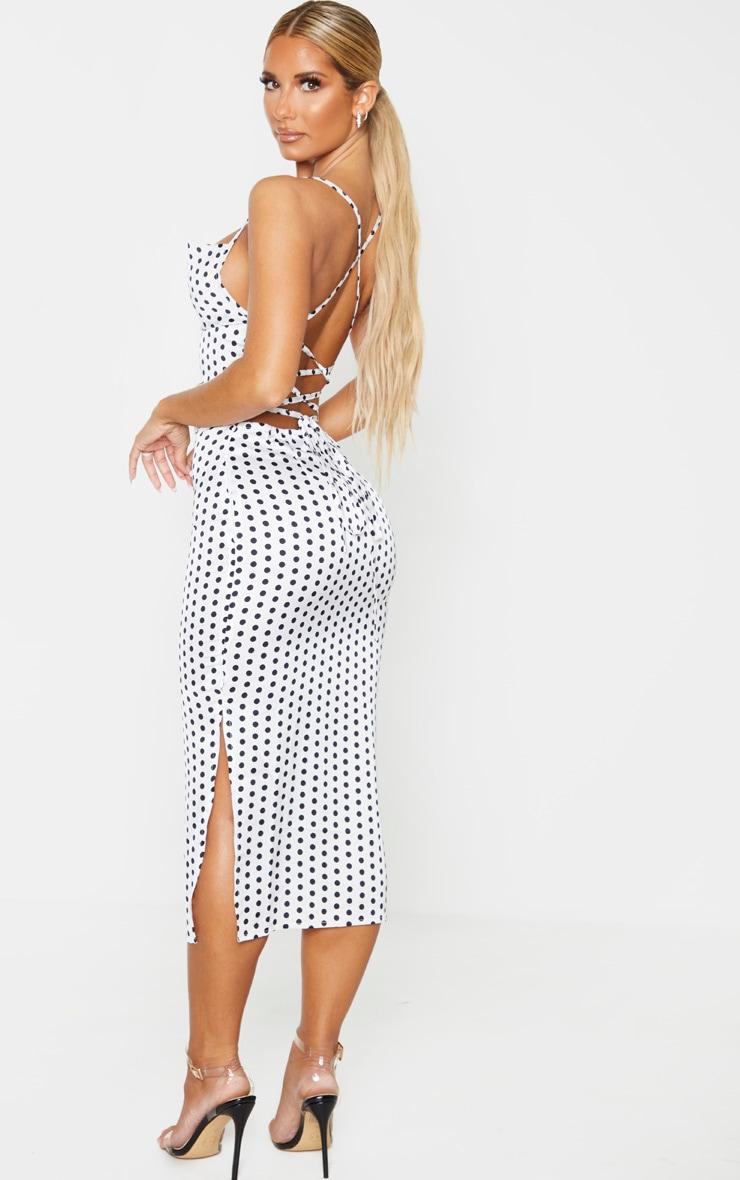 White Polka Dot Satin Strappy Back Midi Dress 2