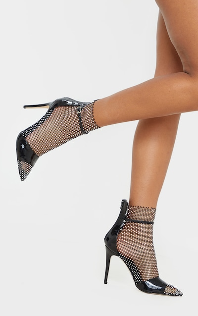 Black Diamante Fishnet Point Toe Sandal