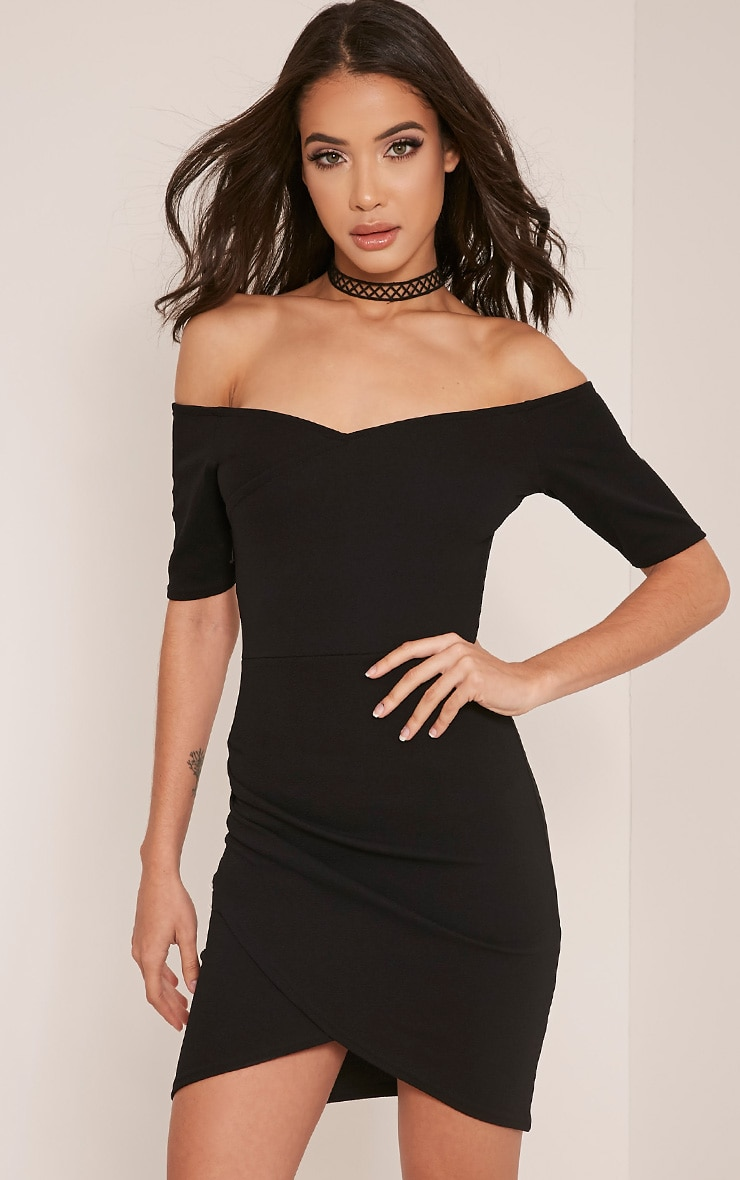 Brandy Black Bardot Ruched Side Bodycon Dress 1