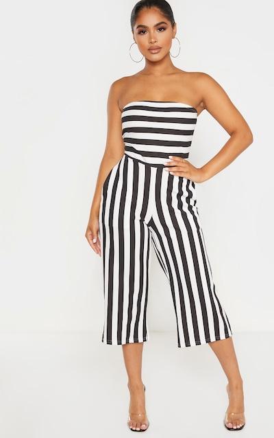 Petite Black Contrast Stripe Bandeau Culotte Jumpsuit
