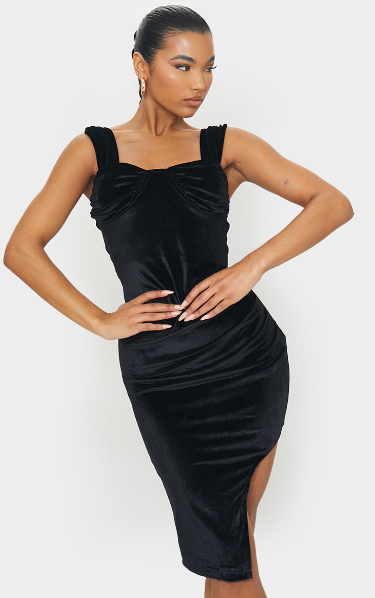 Black Velvet Ruched Binded Cup Detail Midi Dress 1